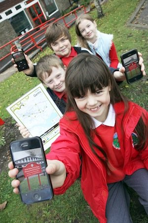 Children from Stretton Handley school with audio trail