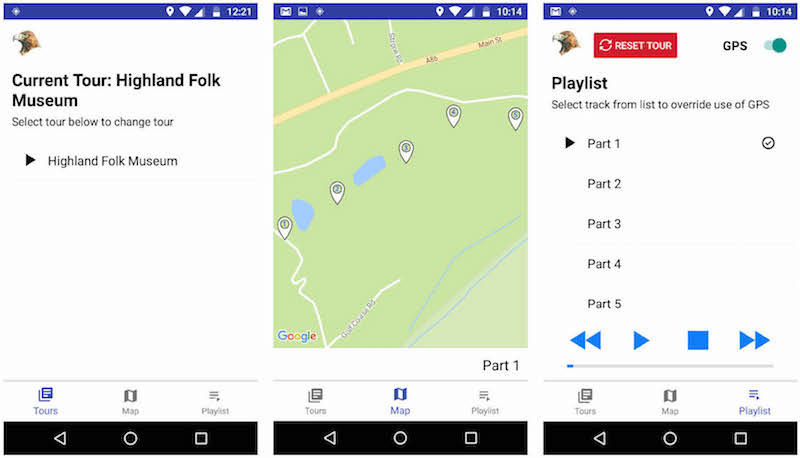 Android screenshots from the Highland Folk Museum GPS Audio Tour Guide app