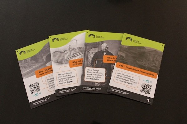 Burnley Canal mini interpretation panels with QR codes
