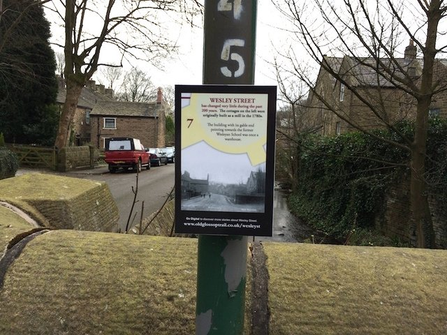 An interactive plaque from the Old Glossop trail