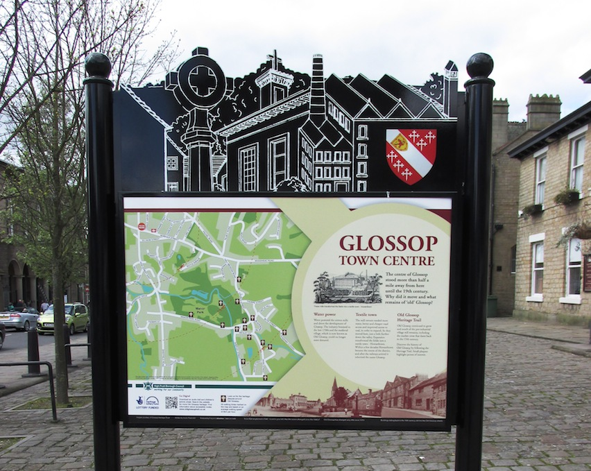 Glossop Town Centre panel for the Old Glossop Trail