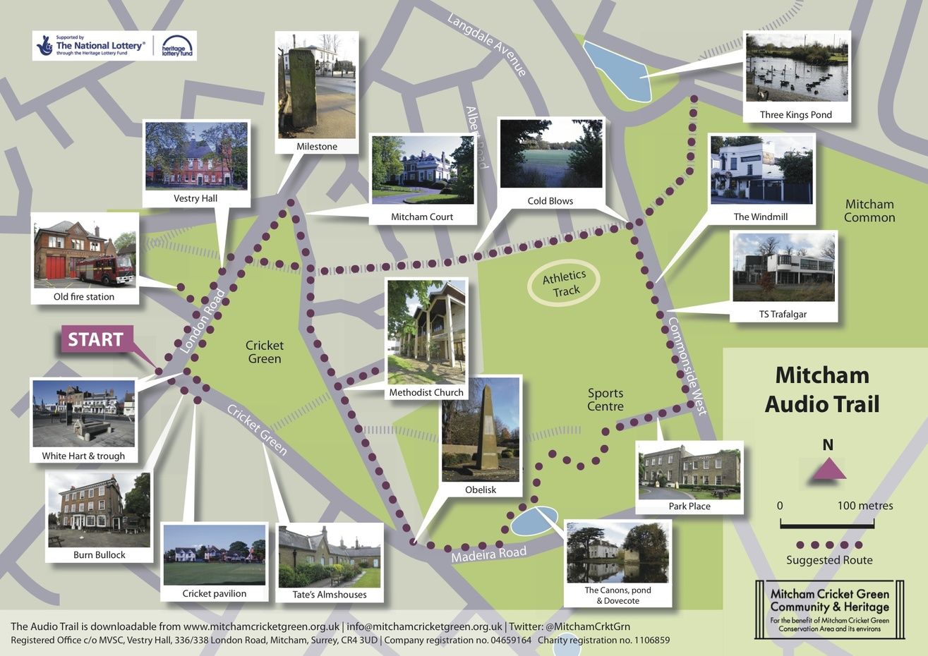 Mitcham Cricket Green audio trail map