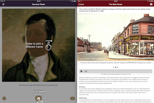 Create a souvenir photo on Ayr Through the Ages and replace Robert Burns face with your own (r). The MK Trails app has a good mix of thoughtful content for each place of interest (l)
