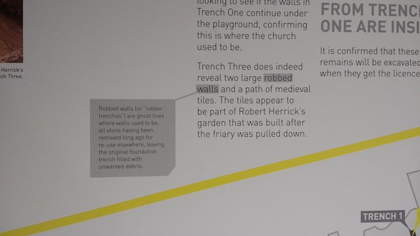 Tricky words nicely highlighted At King Richard III Visitor Centre