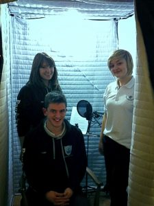 Secondary school pupils recording an audio trail in our mobile studio