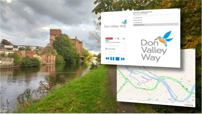 screenshots of DVW Way audio trails app with view of Don River in background