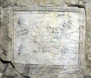 Graffiti left on limestone by soldiers at Naours