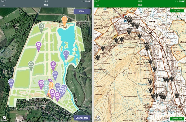 screenshots of app maps. afford abbey on left, Ingleborough on the right