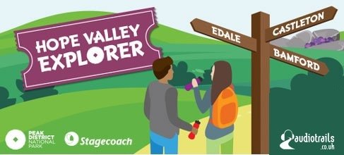illustrated scene of the peak district with two walkers, finger post and the Hope Valley Explorer logo