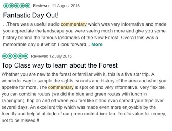 trust pilot reviews of the new forest audio commentary