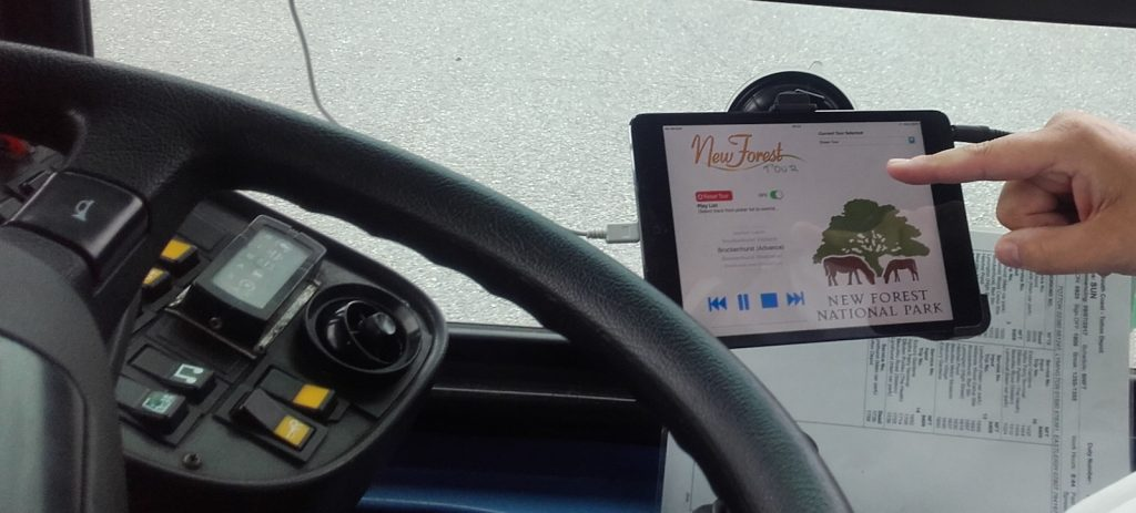 audio tour guide app installed in new forest bus cab