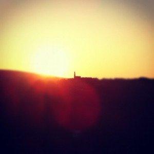 Cornish engine house at sunset